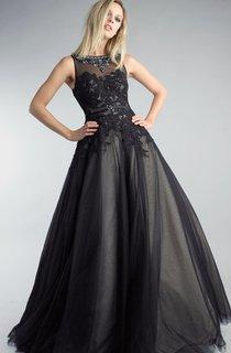 A-line Floor-length High Neck Sleeveless Tulle Illusion Dress
