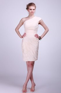 Single Shoulder Short Dress With Pleated Skirt