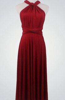 High Neck Sleeveless A-line Pleated Jersey Knee Length Dress With Bandage