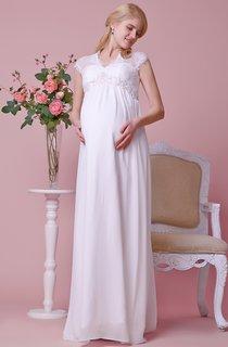Queen Anne Lace Cap-sleeved Empire Waist A-line Chiffon Gown