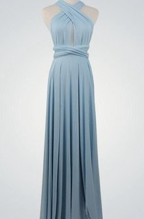 Criss Cross Top Front Keyhole A-line Pleated Jersey Long Dress With Sash
