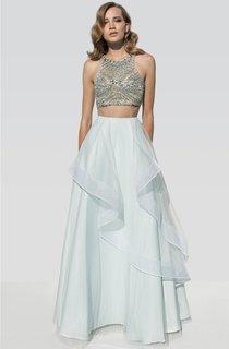 A-Line Floor-Length Scoop-Neck Sleeveless Beading Draping Dress