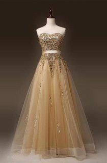 Newest Sweetheart Sleeveless Sequins Evening Dress 2016 Zipper Floor-length