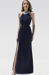 Sheath Floor-Length Scoop-Neck Sleeveless Chiffon Draping Beading Backless Dress