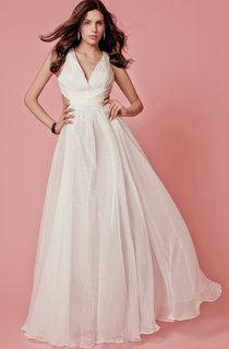 Stylish Sleeveless V-neck Long Chiffon Dress with Criss-cross Ruching and Side Cutouts