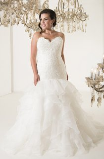 Mermaid Floor-Length Sweetheart Sleeveless Organza Chapel Train Lace-Up Back Appliques Dress