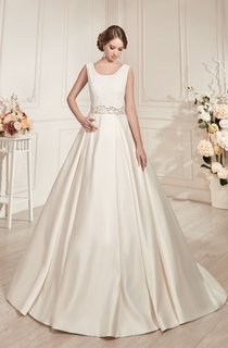 A-Line Floor-Length Scoop-Neck Sleeveless Low-V-Back Satin Dress With Beading