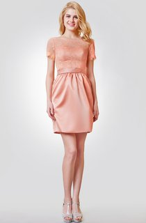 Bateau Neckline Short Lace and Satin Dress With V-back