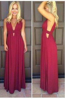 Beautiful Sleeveless Burgundy Prom Dresses 2016 Long Chiffon