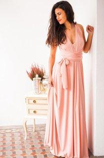 V Neck Pleated A-line Chiffon Long Dress With Sash