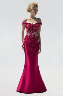 Mermaid Floor-Length Off-The-Shoulder Satin Beading Appliques Dress