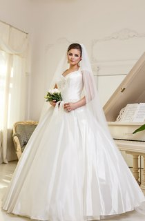 Ball Gown Floor-Length V-Neck Cap-Sleeve Corset-Back Satin Dress With Ruching And Appliques
