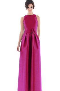 Satin Sleeveless High-Neck Impressive Gown With Flower
