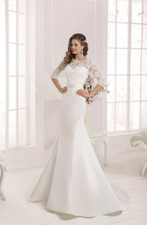 Half Sleeve Lace Top Long Mermaid Dress with Crystal Detailing
