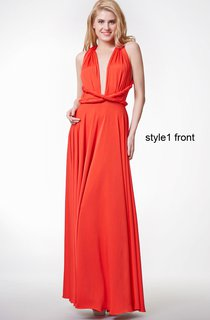Deep V Neck Ruched Long Jersey Dress With Changeable Criss Cross Straps