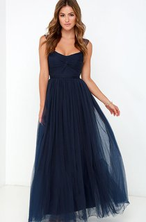 Sleeveless A-Line Long Stylish Tulle Dress