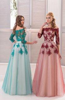 A-Line Floor-Length Off-The-Shoulder 3 Tulle Appliques Pleats Illusion Dress