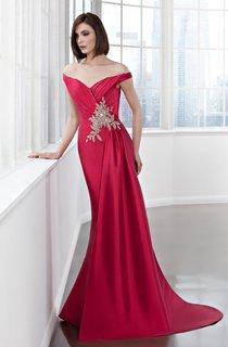 Sheath Long Off-The-Shoulder Satin Draping Beading Dress