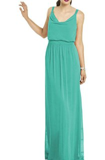 Strapped Cowl Neck Long Chiffon Dress