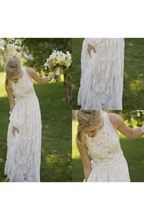Graceful Squared Neck Sleeveless A-line Gown With Full Lace