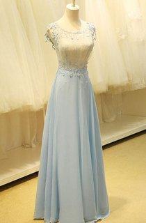 Floor-length Scoop Appliques Keyhole Chiffon Dress