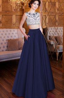 A-Line Floor-Length High-Neck Short Sleeve Satin Pleats Beading Button Dress