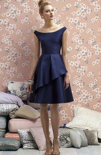 Elegant Knee Length Satin Scoop Bridesmaid Dress
