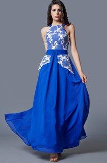 Demure Sleeveless High Neck Long Chiffon Dress With Lace Bodice