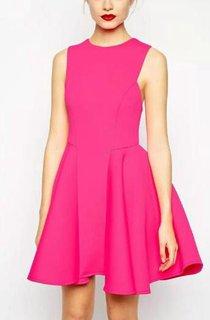 Simple A-line Short Mini Dress with Pleats