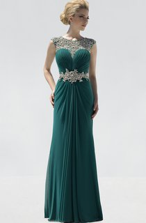 Sheath Floor-Length Jewel-Neck Sleeveless Chiffon Draping Beading Dress