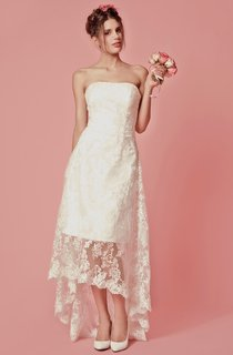 Vibrant Sleeveless High Low Lace Gown