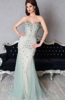 Mermaid Floor-Length Sweetheart Sleeveless Tulle Beading Pleats Zipper Dress