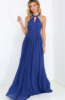 A-Line Empire Long Dress With Strappy Back