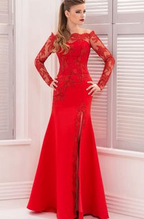 Mermaid Floor-Length Sweep Off-The-Shoulder Long Sleeve Lace Appliques Split Front Zipper Dress