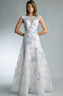 A-line Floor-length Jewel Sleeveless Lace Low-V Back Dress
