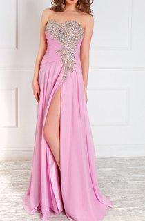 A-Line Floor-Length Sweetheart Sleeveless Tulle Ruffles Beading Zipper Dress