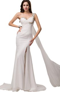 One-shoulder Chiffon Dress With Crystal Detail