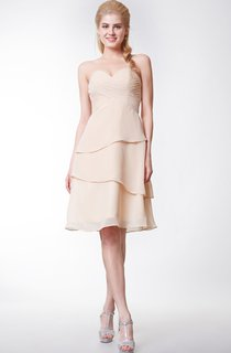 Simple Style Sweetheart Chiffon A-line Knee Length Dress With Layers