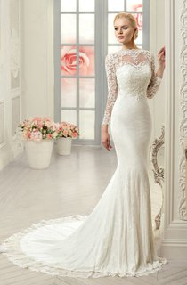 Sheath Long Jewel Long-Sleeve Illusion Lace Dress With Appliques