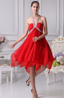 Sweetheart Chiffon Midi Empire Dress With Gemmed Halter