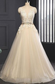 Sleeveless Cap Appliques Backless Tulle Sequins Dress
