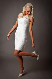 Sleeveless Sheath Lace Short Dress With Lace-Up Back