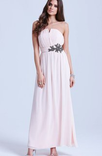 Chiffon Elegant Gown With Notched Neckline