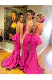 Gorgeous Fuchsia Backless Prom Dress 2016 Ruffle Sweep Train