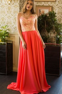 A-Line Sweep High-Neck Short Sleeve Chiffon Pleats Beading Lace-Up Dress