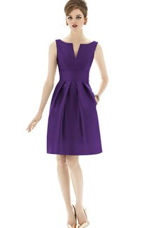 Knee-Length Sleeveless Satin Dress with Ruching and Pockets