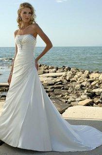 A-Line Strapless Taffeta Wedding Dress