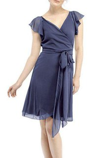 Cap Sleeve V-neck Wrap Short Chiffon Dress with Sash