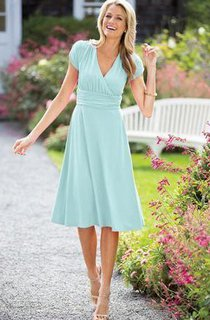 A-line Tea-length V-neck Short Sleeve Ruched Zipper Chiffon Dress