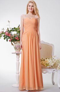 Sweetheart Criss Cross Ruched A-line Long Chiffon Dress